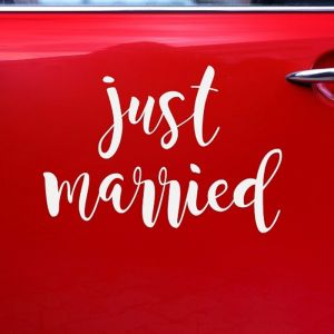 Autosticker Just Married wit