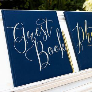 Gastenboek Navy & Gold