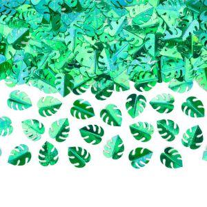 Tafelconfetti metallic blaadjes groen