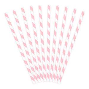Papieren rietjes wit-roze (10st)