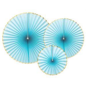 Paper fans lichtblauw-goud (3st)