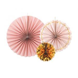 Paper fans roze-goud mix (3st)