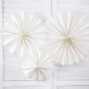 Paper Fans off-white met sierlijke rand (3st)