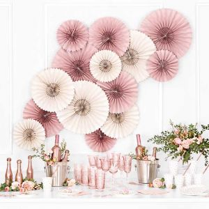 Paper Fans dusty rose met ronde rand (3st)
