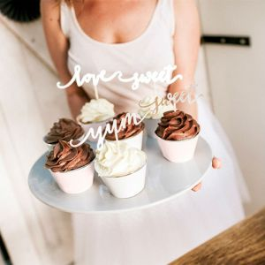 Cupcake prikkers Love Zilver Elegant Bliss (6st)
