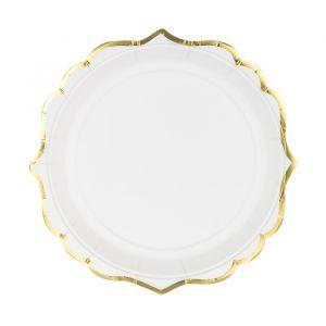 Borden wit met gouden rand (6st)