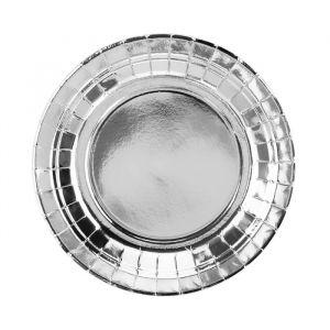 Papieren gebaksbordjes Zilver (6st)