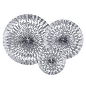 Paper fans zilver (3st)