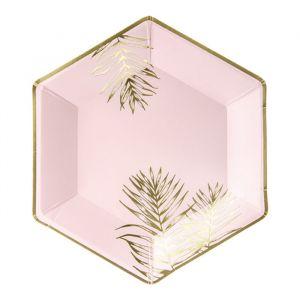 Borden roze-goud (6st) Leaves