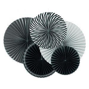Paper fans zwart-wit (5st)