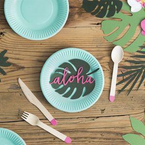 Papieren bordjes turquoise Aloha Collectie (6st)