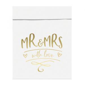 Uitdeelzakjes Mr & Mrs goud (6st) product