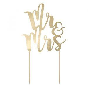 Taarttopper Mr & Mrs goud