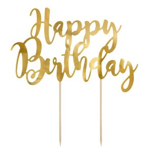 Taarttopper Happy Birthday goud