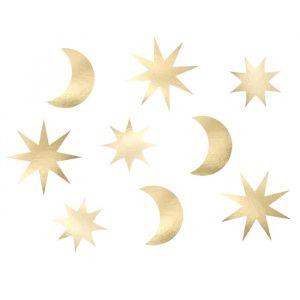 Tafeldecoratie maan en sterren goud (9st) Golden Grid