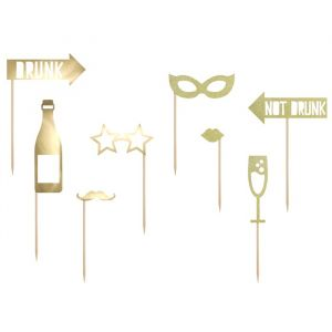 Party Props goudfolie (8st) Golden Grid