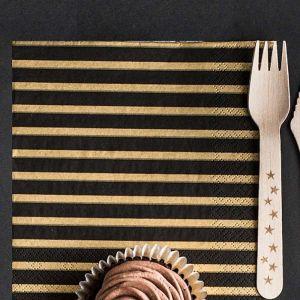 Servetten Stripes (20st) Black & Gold