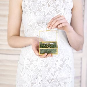 Glazen bewaardoosje goud (9 x 5,5 x 4cm)