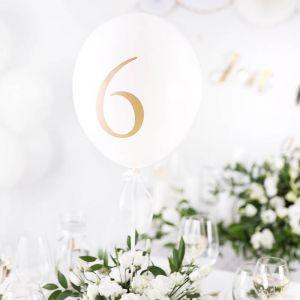Ballonnen tafelnummers wit (10st) White & Gold Collection