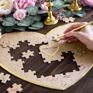 Gastenboek puzzel kraft-goud Forest Wedding