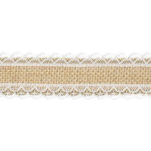Juten lint met kant zijdes 4cm breed (5m)