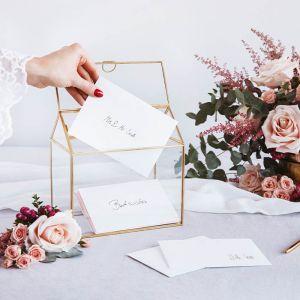 Glazen enveloppendoos goud Modern Wedding
