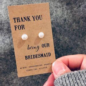 Thank you bridesmaid parel oorbellen