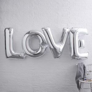 XL Folieballonnen LOVE zilver Ginger Ray
