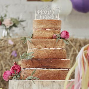 Just Married Taarttopper Hout Ginger Ray