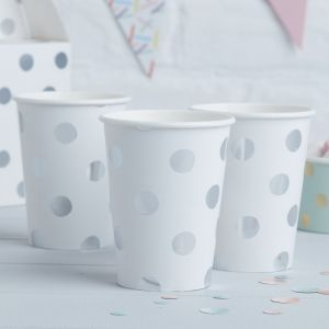 Bekertjes dots Wit- Zilver (8st) Pick & Mix Ginger Ray