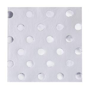 Servetten dots Wit- Zilver Pick & Mix (20st) Ginger Ray