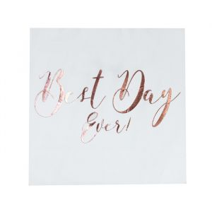 Servetten Best Day Ever wit-roségoud (20st) Beautiful Botanics Ginger Ray