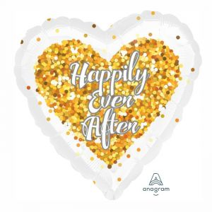 Folieballon hart Happily Ever After (43cm)