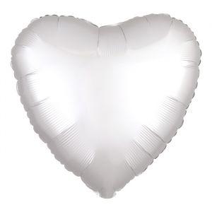 Folieballon Satin Luxe hart wit (43cm)
