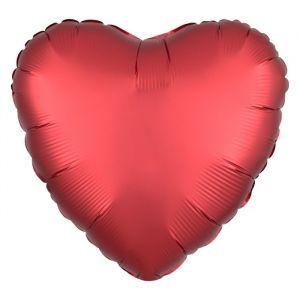 Folieballon Satin Luxe hart rood (43cm)