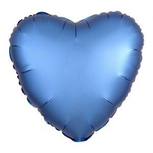 Folieballon Satin Luxe hart blauw (43cm)