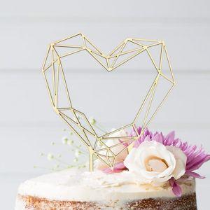 Geometric Floral taarttopper houten hart