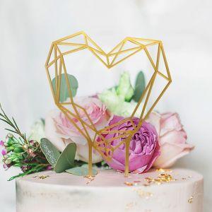 Taarttopper Geometric Floral Hart goud acryl
