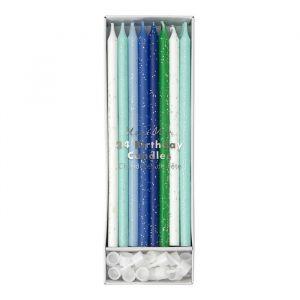 Glitter Kaarsen Blauw (24st) Meri Meri product