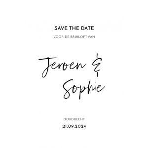 Modern save the date kaart staand enkel
