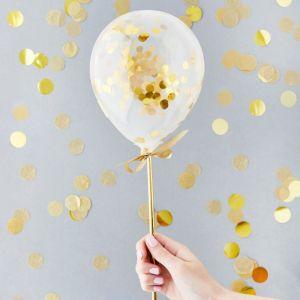 Mini Confetti Ballonnen Goud (5st) Hootyballoo