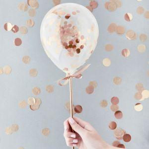 Mini Confetti Ballonnen Roségoud (5st) Hootyballoo