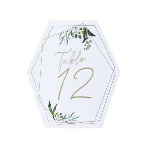 Tafelnummers 1-12 Geometric Greenery Hootyballoo