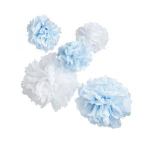 Pompons Mix Lichtblauw & Wit