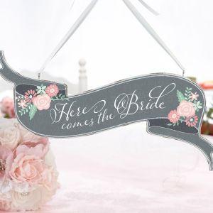 Here comes the bride houten bord