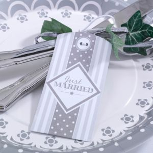 Chic Boutique labels Just Married zilver-wit (10st)