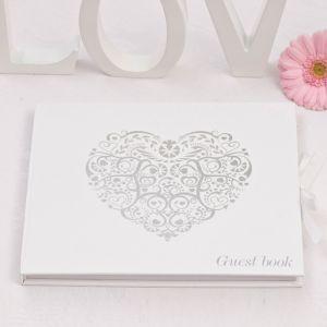 Vintage romance gastenboek wit-zilver