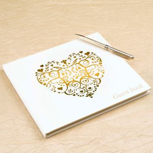 Vintage romance gastenboek ivoor-goud