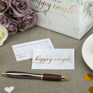 Happy couple Wedding Wishes Marmer Goud (25st)