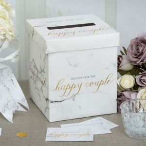 Wedding wishes box Marmer Goud